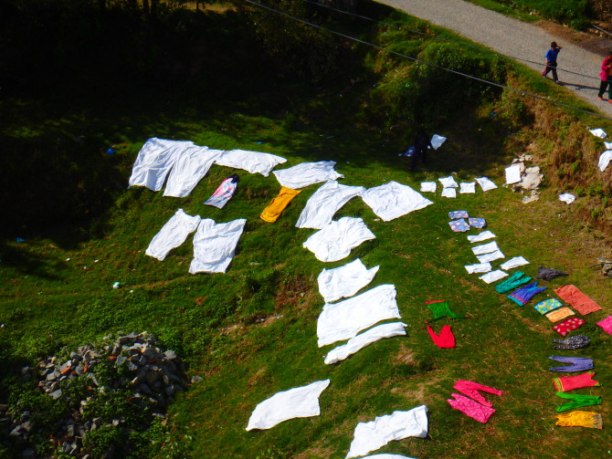 ネパール カトマンズ 洗濯物