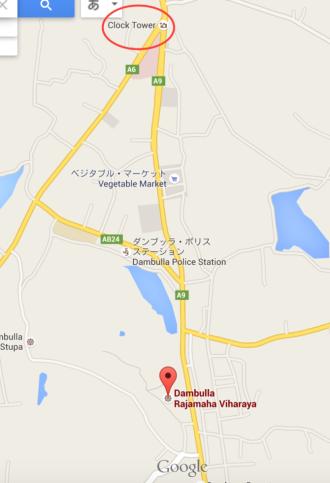 スリランカ ダンブッラ 地図