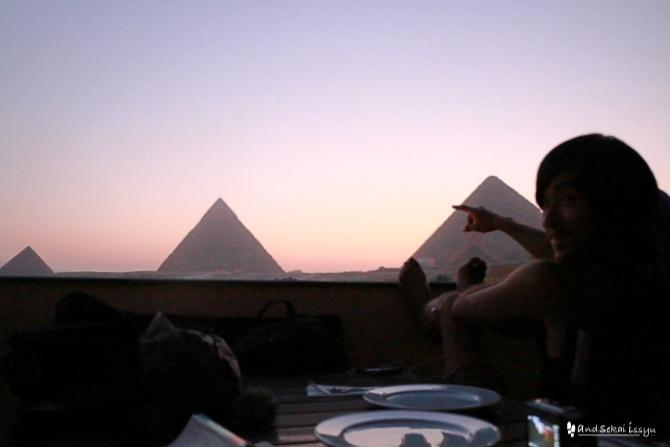 ギザ ピラミッド 夕日