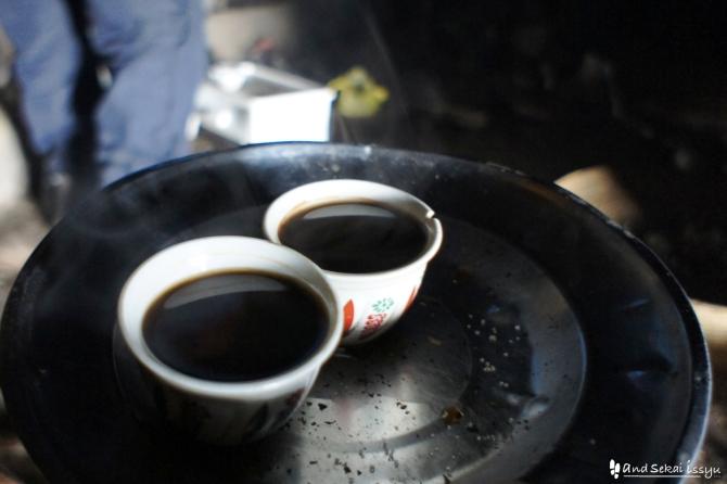 シミエン国立公園のコーヒーセレモニー
