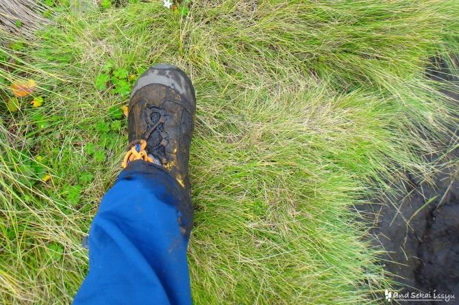 シミエン国立公園で汚れた靴