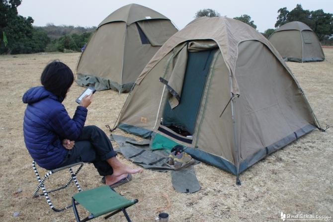 ンゴロンゴロ自然保護区のキャンプサイト