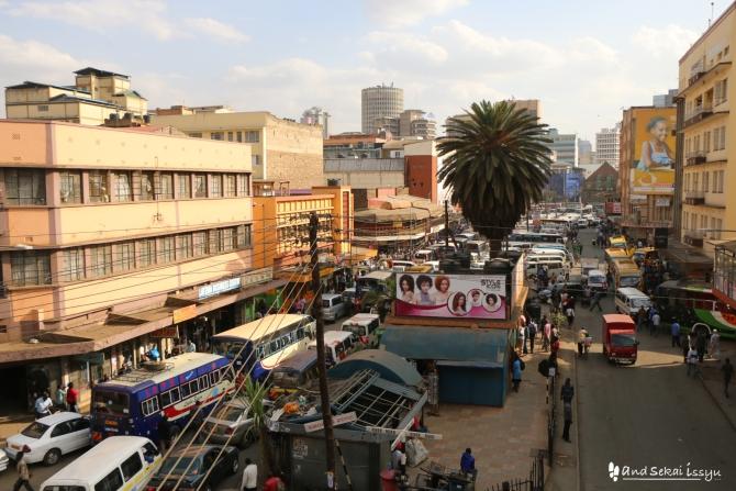 ナイロビにあるニューケニアロッジからみたヒルトンホテル