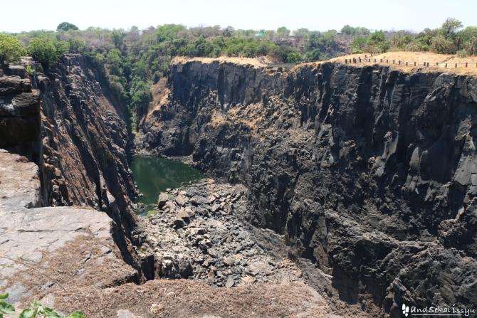 ビクトリアの滝(ザンビア)の崖