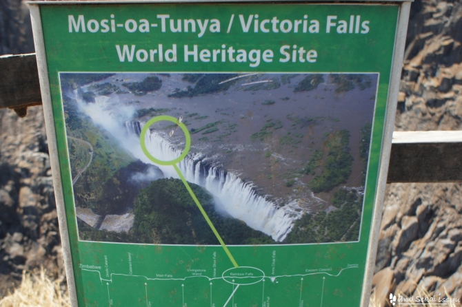 ビクトリアの滝の看板