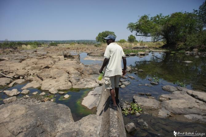 ビクトリアの滝(ザンビア)にいたガイド