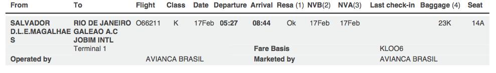 サルバドールからリオ・デジャネイロへ飛行機で移動。