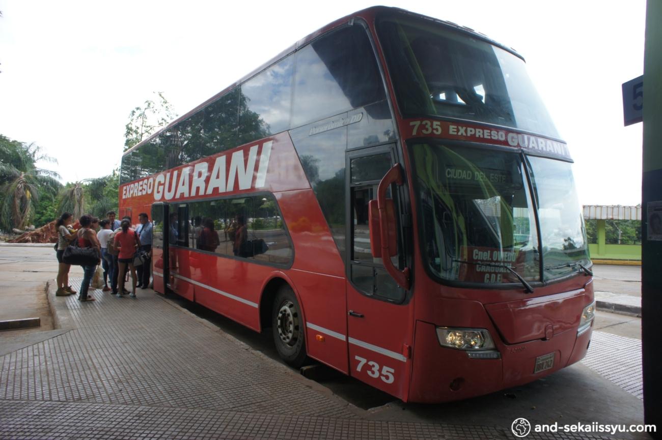アスンシオンのらぱちょからイグアス日本人居住区の民宿小林にバスで移動。