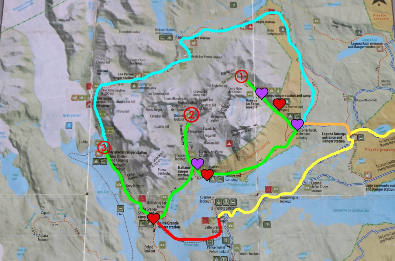 トーレス・デル・パイネ国立公園トレッキング〜準備・コース編〜地図もあるよ